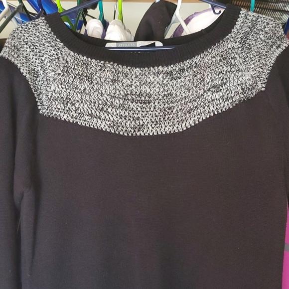 Athleta Fair Isle Stripped Black Sweater Dress